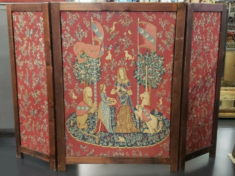 Circa 1940 French The Lady and The Unicorn Tapestry Folding Fireplace Screen