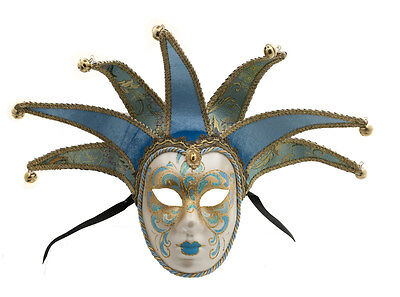 Mask from Venice Volto Jolly Blue Golden 7 Spikes for Masquerade Ball 1422 VG2