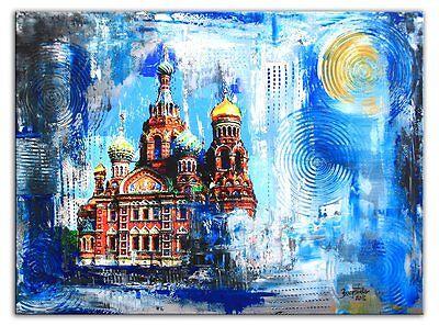 St. Petersburg Auferstehungskirche Gemälde Malerei Bild Modern 60x80