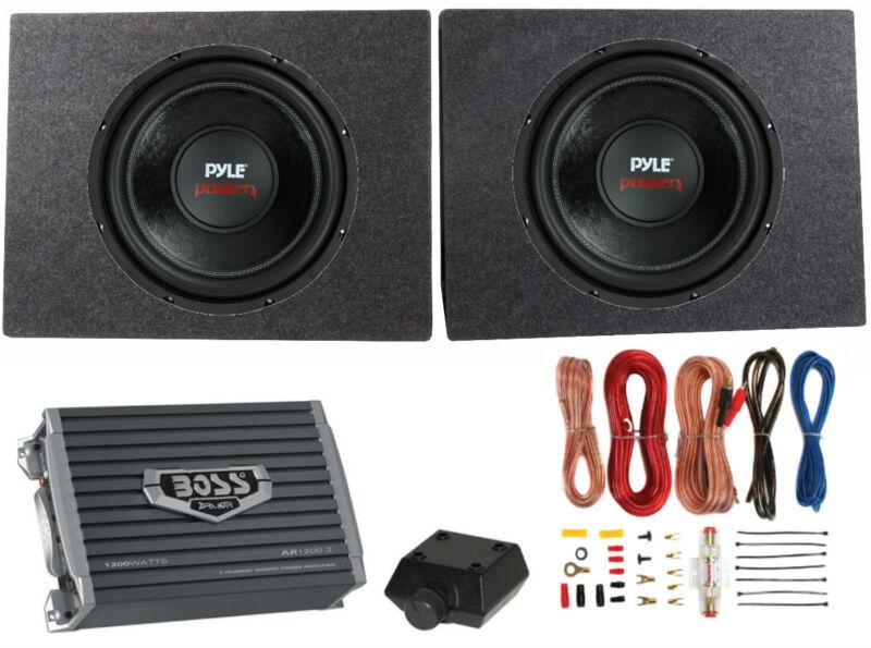 """Pyle PLPW12D 12"""" 3200W Car Subwoofers 2pk, 2 Ch Amplifier, Amp Kit & 2 Sub Boxes"""