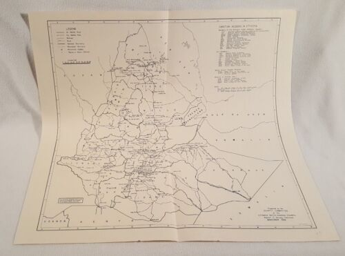 Vintage 1966 Ethiopia Missionary Map - Comity Committee Inter-Mission Council