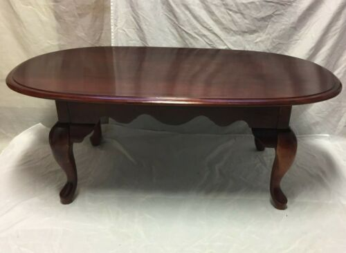 Vintage Queen Anne Style Mahogany Finish Wood Coffee Cocktail Table - Nice!!