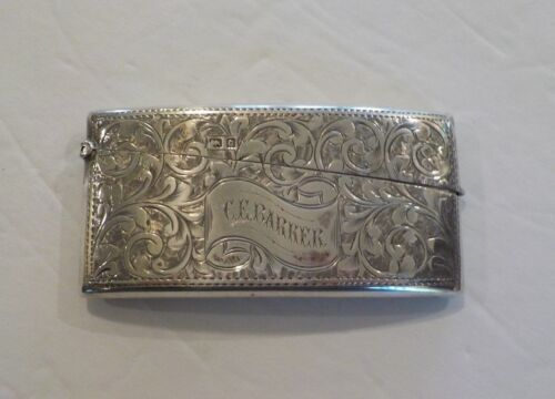 English Sterling Silver Engraved Calling Card Case with Cards, c. 1902