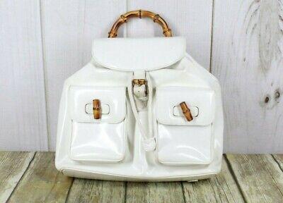 Vintage! GUCCI Women's White Leather Bamboo Handle Handbag Backpack Handbag