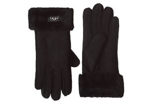 BRAND NEW AUTHENTIC UGG BLACK SUEDE SHEARLING GLOVES $75!