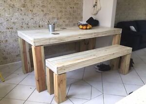Rustic Dining Table and Bench seats New Carrara Gold Coast City Preview