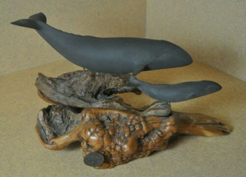 JOHN PERRY Gray Whale & Calf Sculpture *Resin & Burled Wood
