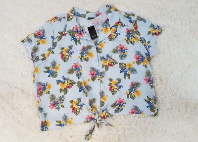 Torrid Plus Size Disney Retro Stitch Tie Front Hawaiian-inspired Button Down Top