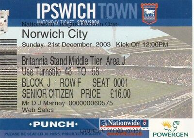 Ticket - Ipswich Town v Norwich City 21.12.03