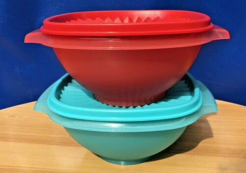 TUPPERWARE NEW SERVALIER BOWLS SET OF TWO 950 ML EACH RED AND AQUA  COLOR !!!