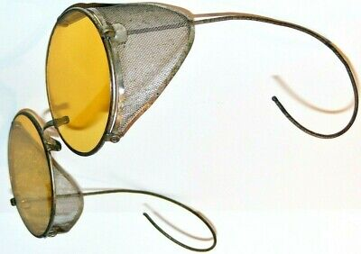 Vtg 1920/30's Yellow Lens Safety/Motorcycle Goggles Hinged Mesh Sides Steampunk