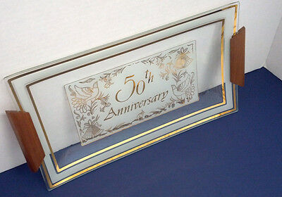 vintage 50th wedding anniversary glass serving with wood handles party supplies
