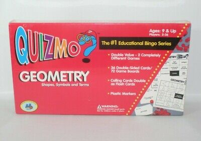 Quizmo Geometry Education Bingo Game (Shapes Symbols Terms) - NEW