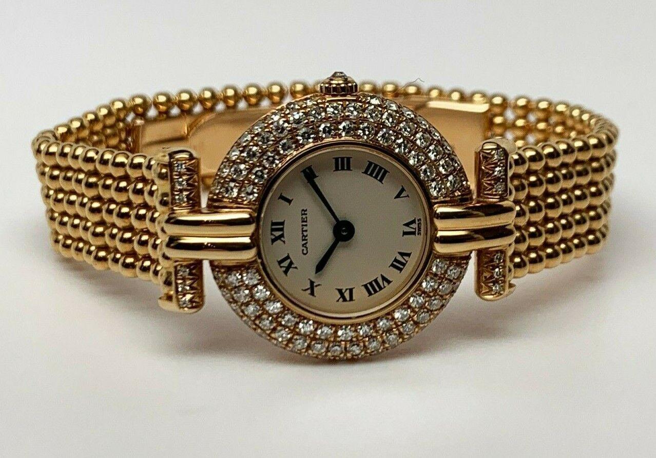 CARTIER Colisee Ref 881092 18kt Gold Swiss Quartz Watch Cir 1990 DIAMOND Bezel!! - watch picture 1