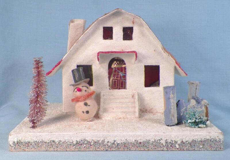 Vintage Christmas House Train Yard Putz Snowman White Glitter Japan Large #56