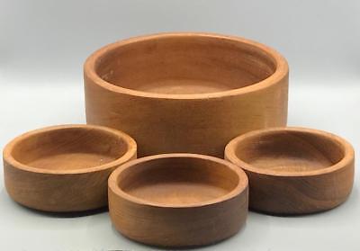 Vintage Lot of 4 Genuine Teak Wood Gailstyn-Sutton Salad Bowl Handmade Kitchen