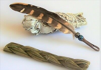 SMUDGING SET with HANDCRAFTED FEATHER, WHITE SAGE SMUDGE STICK & SWEETGRASS