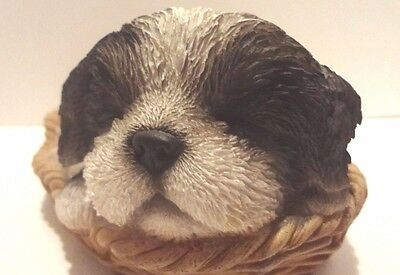 Wicker Basket Shih Tzu Puppy Dog- Life Like Figurine Statue Home/Garden