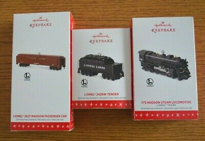 2016 3-Piece Set Lionel Trains Hallmark Keepsake Hudson Eng, Tender, Passenger