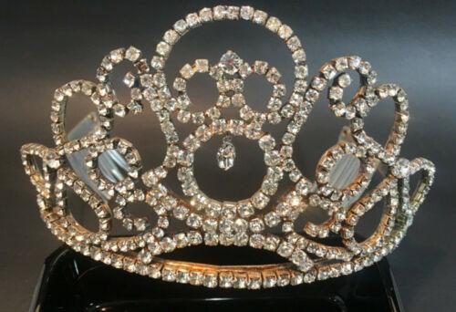 VINTAGE Rhinestone TIARA CROWN Prong Set? Headband Combs Pageant Theatre Drag