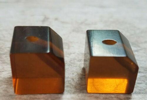 "2 Bakelite Art Deco Apple Juice  Buttons Cube 7/16"" Vintage Brown Orange tested"