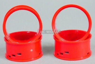 RC Car 1/10 DRIFT WHEELS RIMS Adjustable Offset  3mm-6mm-9mm -RED LIP -4 RINGS