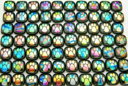 PAW PRINT ETCHED Lot 70 pcs DICHROIC FUSED GLASS earrings (BK17) CAB HAND MADE