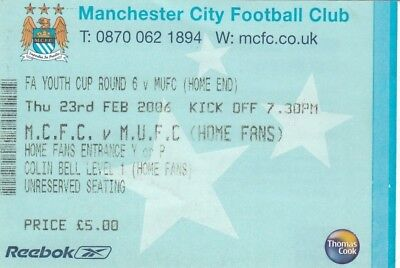Ticket - Manchester City Youth v Manchester United Youth 23.02.06 FA Youth Cup