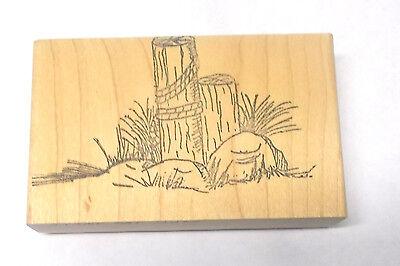 Seaside Rocks - Seaside post rocks grass rubber stamp wood mounted 200 proof press scenic stamps