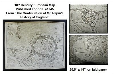 18th Century European Map c1745 French city of Douai Fortifications Engraved VG
