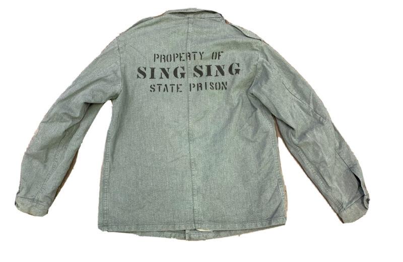 VTG Sing Sing State Prison New York Denim Jacket Size 52