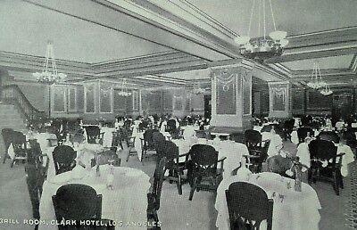 C.1910 Grill Room, Clark Hotel, Los Angeles, CA Inside View Vintage Postcard F4