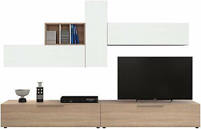 Parete attrezzata San Fernando bianco rovere mobile TV soggiorno sala da pranzo