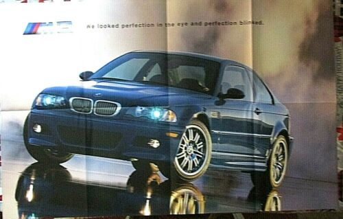 """BMW 2001 M3 POSTER BROCHURE FULL COLOR PRODUCT LINE UNFOLDED SIZE 34""""x21"""" NEW"""