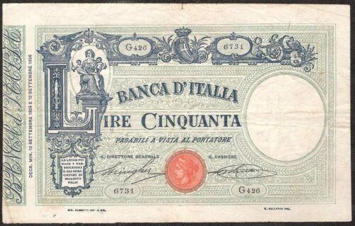 ITALY 50 LIRE 1924 P:38e F