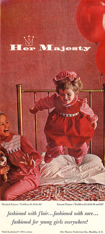 Her Majesty Underwear FASHIONED FOR YOUNG GIRLS Pajama LOUNGE TOPPER 1960 Ad
