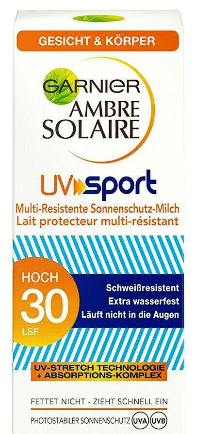 Garnier Ambre Solaire 3 x 50 ml Sonnencreme UV Sport/schweißfester Sonnenschutz