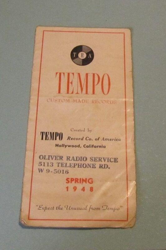 1948 TRA Tempo Record Company of America Catalog Hollywood CA Brother Bones