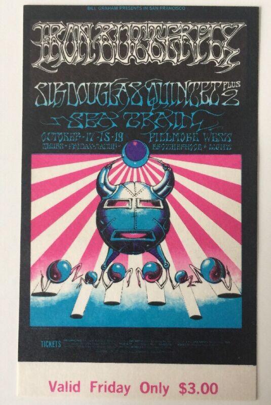 1968 Bill Graham Full 141 Ticket 10/18/1968 Fillmore West Iron Buttterfly