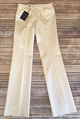 PRADA Natural Ivory Off White Silk Wool Flat Front Dress Pants Sz 44 US Sz 8 10