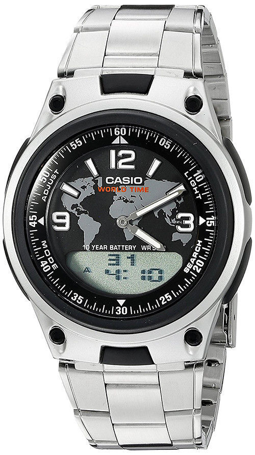Casio Men's Ana-Digi 10-Yr Battery World Time Databank Stainless Steel AW80D-1A2