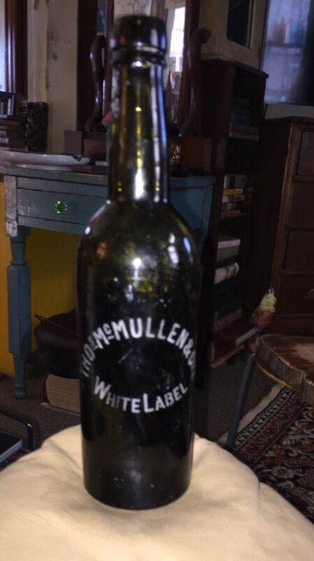 "Antique Olive Green Beer Etched Label""Thos McMullen White Label Hand tooled"