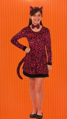 Cat Costume Girls (NWT Girls Leopard Halloween Costume Dress Only PINK BLACK M 6-8 Feline)