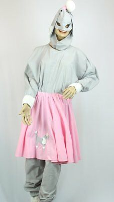 Poodle Dog Costume 2 Pc Adult Gray & Pink Cloth Jumpsuit W/ Skirt & Hood XL