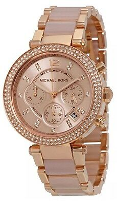 Michael Kors Original Women's Parker Rose Gold Blush Crystal Set Watch MK5896