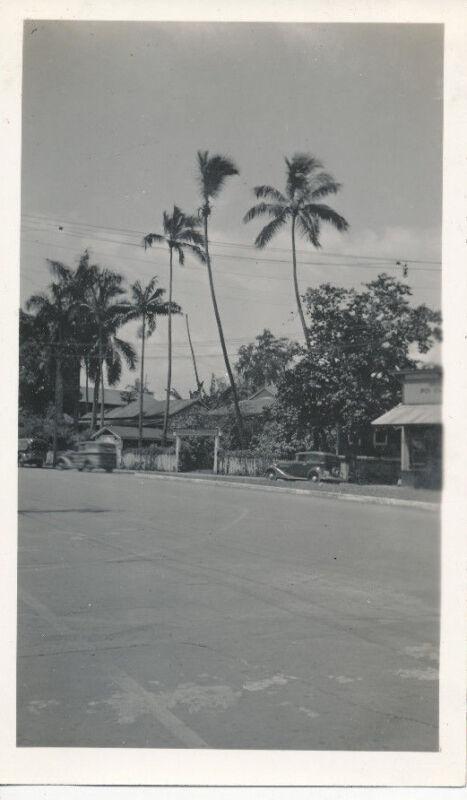 1940s street scene, woody car, Poi Factory,  Honolulu? Hawaii  Photo