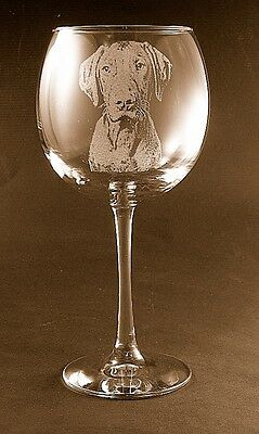 New Etched Vizsla on Large Elegant Wine Glasses - Set of 2
