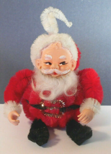 Vtg Santa Xmas ornament Decoration Chenille Pipe Cleaner-Rubber Head-Christmas