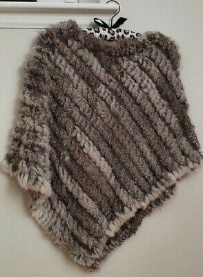 Jayley Grey Real Coney Fur Poncho