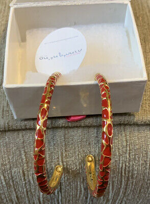 Joanna Laura Constantine Red And Gold Hoop Earrings . X14